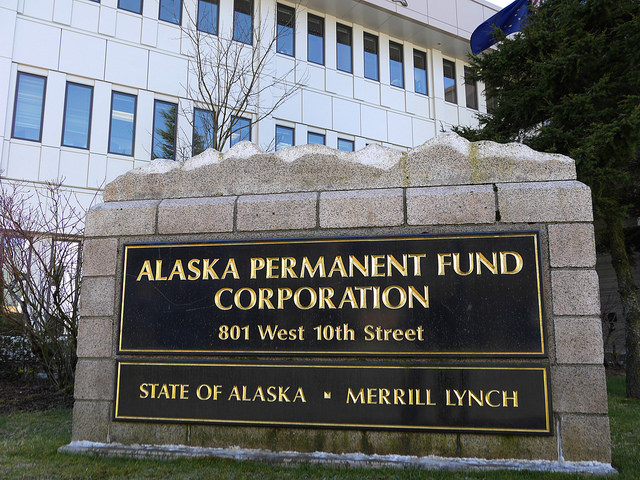 The Alaska Permanent Fund Corp.'s exterior sign. A judge ruled in favor of the corporation and upheld Gov. Bill Walker's veto of half of dividend funding. (Photo by Skip Gray, 360 North)