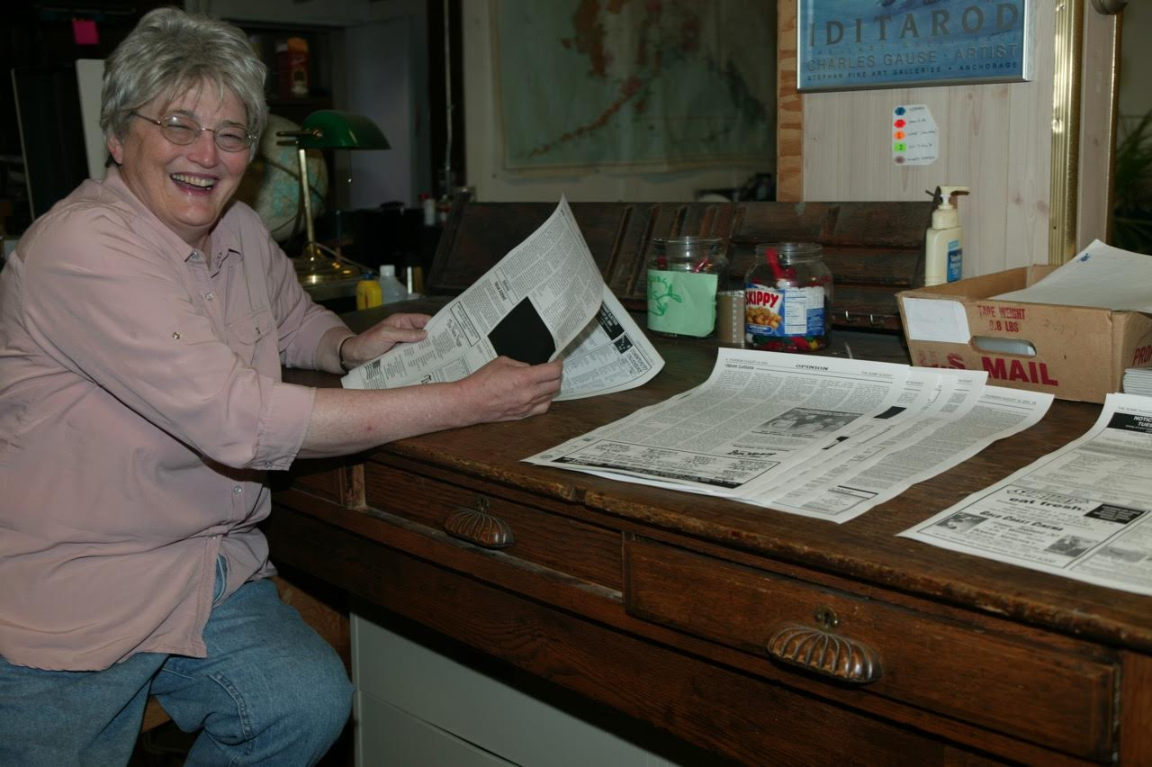 Nancy at the layout table preparing the Nome Nugget. (Photo courtesy of Peggy Fagerstrom)