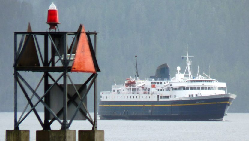 The ferry Malaspina makes a rare appearance near downtown Sitka in 2010. A new report suggests a public corporation be formed to manage ferry operations. (Photo by Ed Schoenfeld, CoastAlaska News)