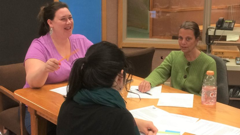 Frances Ziel, right, during an advisory school board meeting. (Photo by Quinton Chandler, KTOO - Juneau)