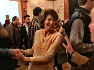Lisa Murkowski celebrates on Election Night. Photo by Liz Ruskin, APRN.