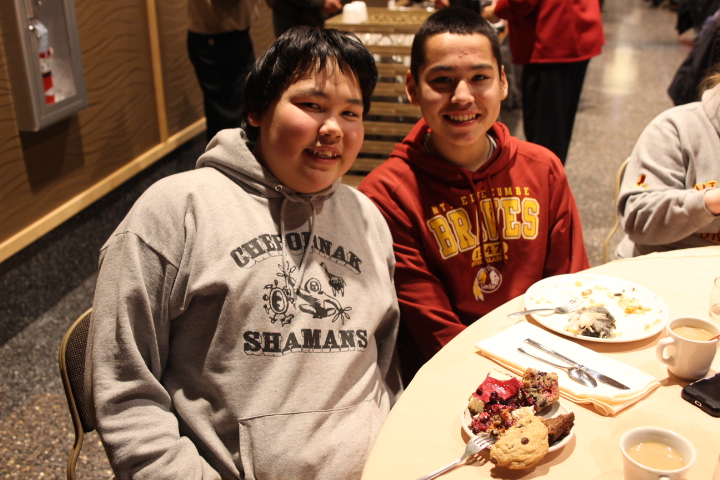 Moses Wiseman and Christian Charlie are students at Mt. Edgecumbe High School. Wiseman is from Chefornak and charlie is from Marshall, both small villages in the Yukon-Kuskokwim Delta. (Photo by Emily Russell, KCAW - Sitka)
