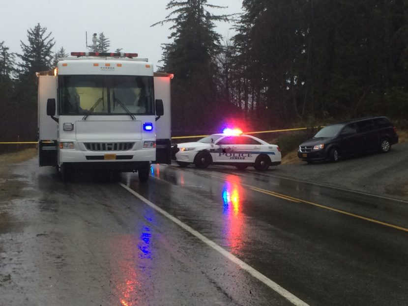 A 38-year-old Juneau man was injured in an officer-involved shooting and medevaced to Seattle. Juneau police originally responded to a vehicle crash early Saturday morning. (Photo by Quinton Chandler, KTOO - Juneau)
