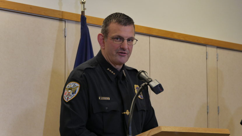 Juneau Police Chief Bryce Johnson was one of several city and state officials who spoke at a press conference on the officer-involved shooting Saturday. (Photo by Quinton Chandler, KTOO - Juneau)