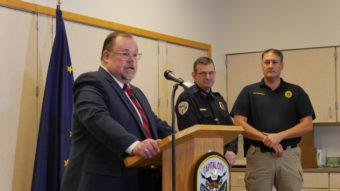 Juneau District Attorney James Scott announces the role a new statewide protocol for officer-involved shootings will play in the investigation of Saturday's shooting. (Photo by Quinton Chandler, KTOO - Juneau)