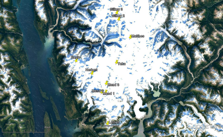 Researchers traveled to ten sites on seven glaciers on the Juneau Icefield in 2016 to find traces of black carbon or soot. (Map courtesy UAS)