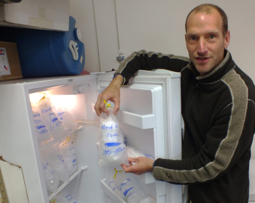 Hardcore science: Jason Fellman, research assistant at University of Alaska Southeast, opens one of the freezers containing snow and ice samples taken from the Juneau Icefield. (Photo by Matt Miller, KTOO - Juneau)