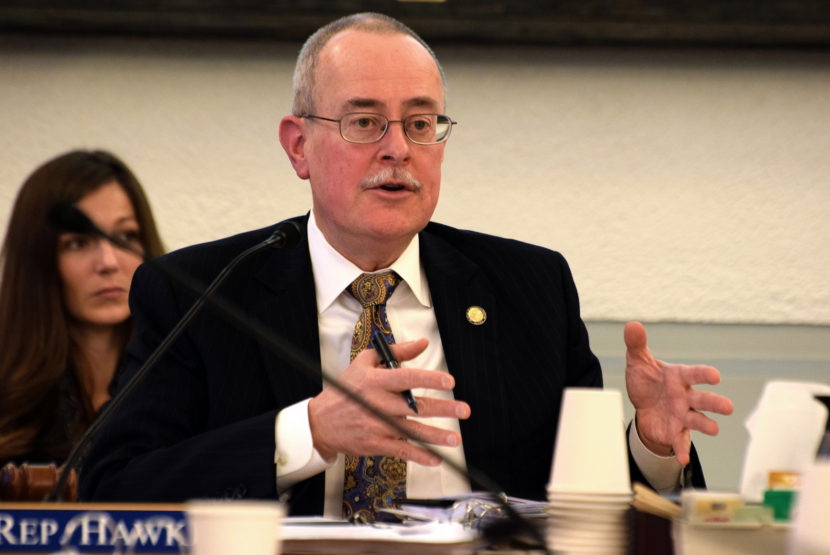 Rep. Mike Hawker, Chair of the Legislative Budget & Audit Committee, on Feb. 12, 2015. Hawker and fellow Anchorage Republican Cathy Giessel asked the committee to audit the Alaska Gasline Development Corporation which Hawker helped form. (Photo: Skip Gray- 360 North)