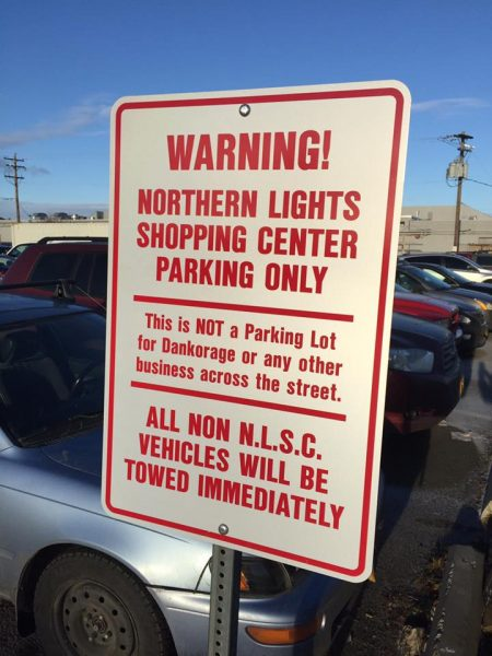 A sign about parking for Dankorage, which is dealing with many of the same Title 21 issues as other area businesses rushing to open (Image via Facebook)