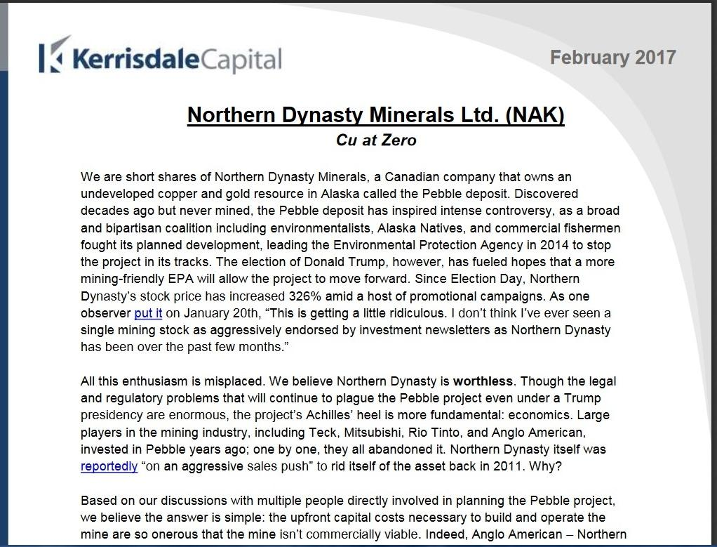 Analyst's Review to Watch: Northern Dynasty Minerals Ltd (NYSEMKT:NAK)