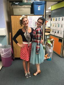 Shoshana Keegan (left) and Rosalind Worcester (right), both teachers in Bowman Elementary School's 1st/2nd grade optional program, dress up for a school spirit day. (Courtesy Rosalind Worcester)