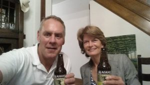 Interior Secretary Zinke posted this photo of Sen. Murkowski and him drinking two Alaska Brewing Company pale ales on Thursday. (Twitter photo from Ryan Zinke)