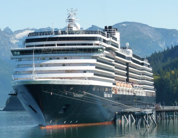 The cruise ship Noordam brought close to 2,000 passengers to Haines on Sept. 20, 2017. It and other ships carried more than 1 million passengers this summer, helping increase the region's tourism economy. (Ed Schoenfeld/CoastAlaska News)