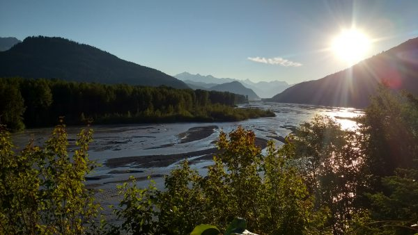 The sun sets Sunday, Aug. 6, over the Chilkat River in Haines. (Photo by Emily Files, KHNS-Haines)