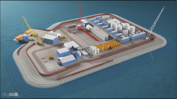 3-D model of a prospective gravel island and its oil drilling operation in Arctic waters.