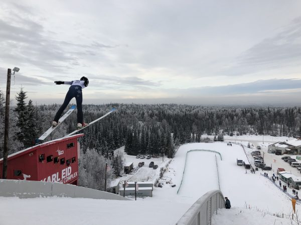 Skier at Karl Eid Jumping Complex.