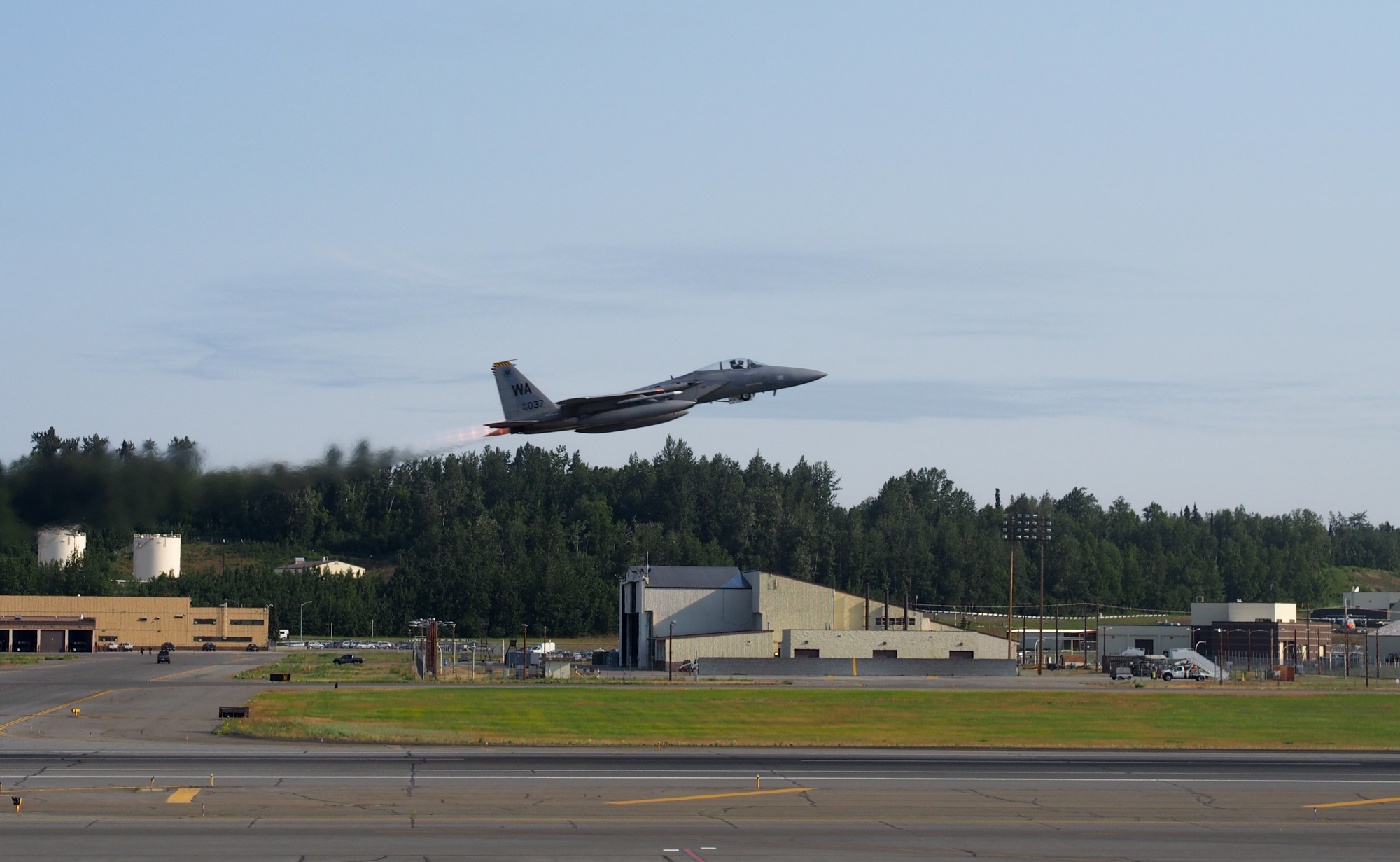 fead52ead27 An fighter jet taking off from Joint Base Elmendorf-Richardson during  exercises in 2015. (Photo  Zachariah Hughes – Alaska Public Media)