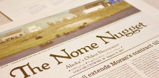 A newspaper with the title Nome Nugget