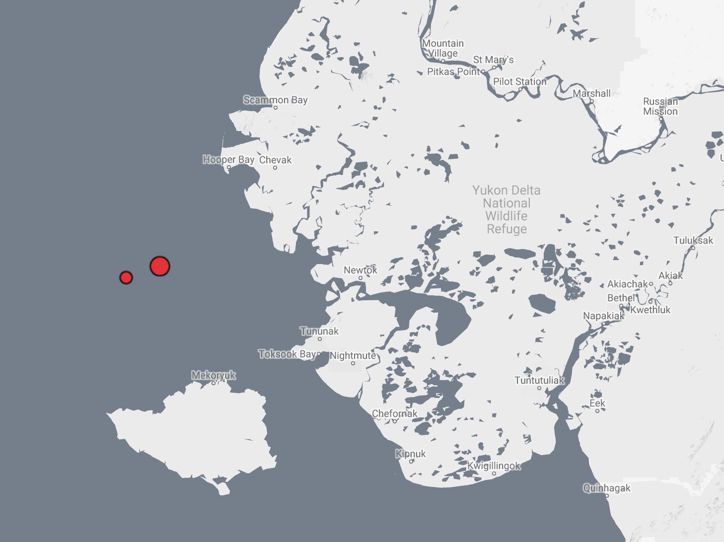 Two unprecedented earthquakes shake Y-K Delta coast