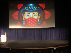 Writer and activist Winona LaDuke speaking at the University of Alaska Anchorage