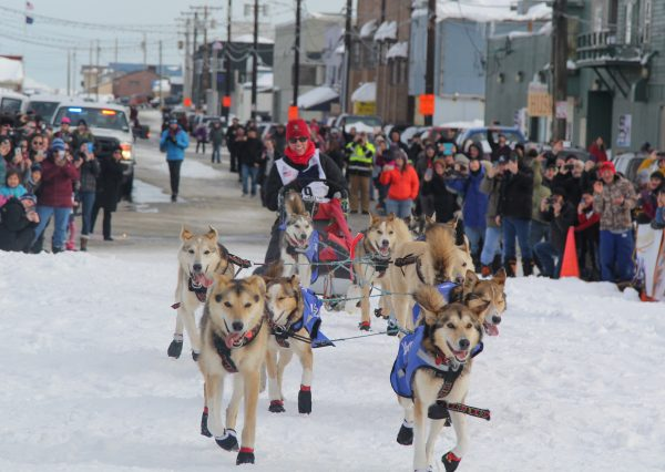 Sled dogs travel down a snowy street with musher Aliy Zirkle on the back of the sled.