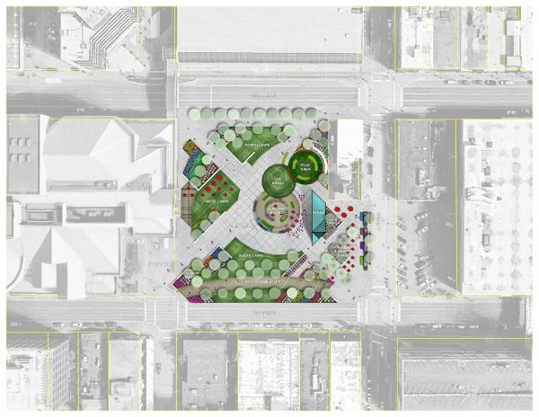 """A visual representation of the Parks and Recreation Department's """"preferred concept"""" for Town Square Park. (Courtesy of Stephen Rafuse, Municipality of Anchorage, Parks and Recreation)"""