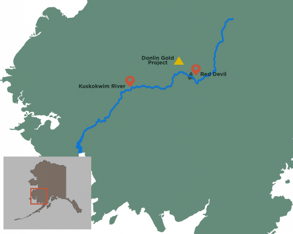 Map of Red Devil and Donlin Mine on the Kuskokwim