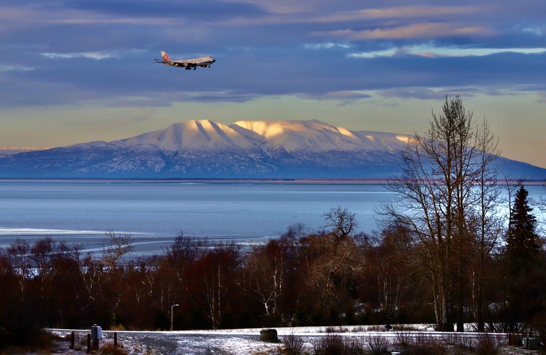 Plane Over Sleeping Lady Alaska Public Media