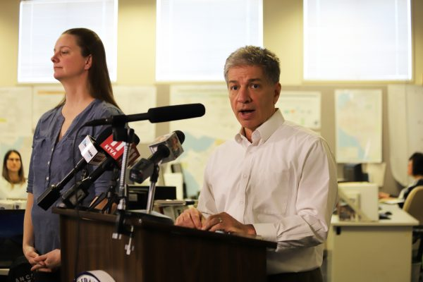 Mayor Ethan Berkowitz at a COVID-19 press conference in Anchorage in March.