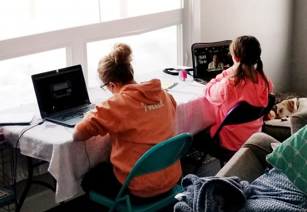 A girl in an orange sweatshirt sits next to a girl in a pink shirt at a desk in their home facing the window while the both do school work on laptop computers