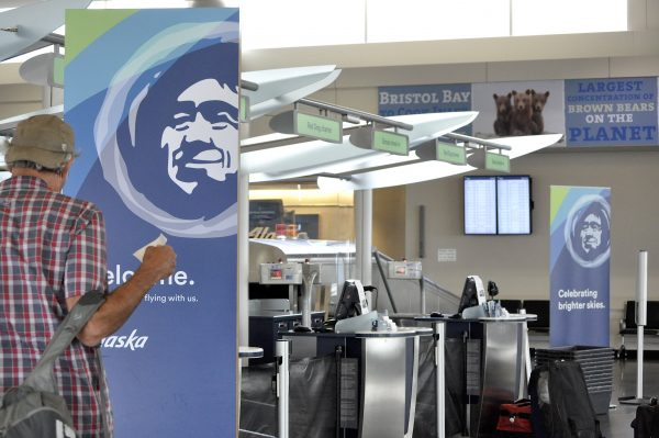 The Alaska Airlines check-in counter at the Ted Stevens Anchorage International Airport.