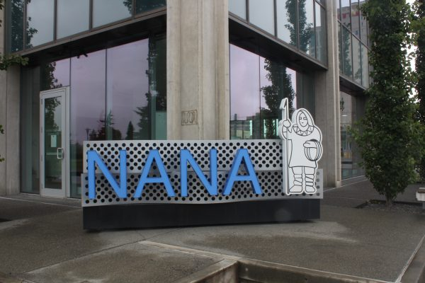 A glass building with the nana logo in front