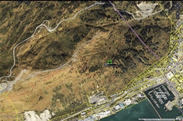 Photo of area based on the Kodiak Police Department's cell phone tracking system. The green spot marks the location of where the jogger was when he called police for help after the attack.