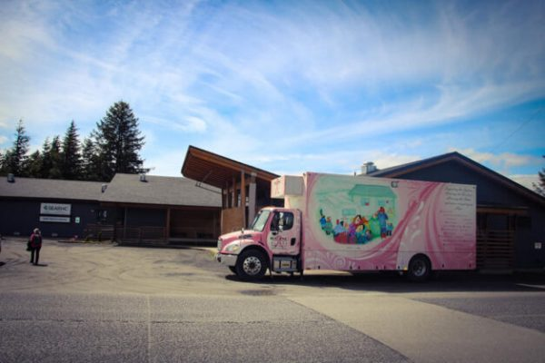 A pink trailer sits in a sunny parking lot.