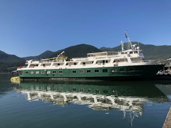 White and green ship sits in still ocean water