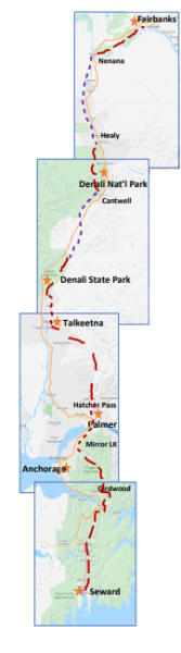 A map shows the route of the proposed Alaska Long Trail