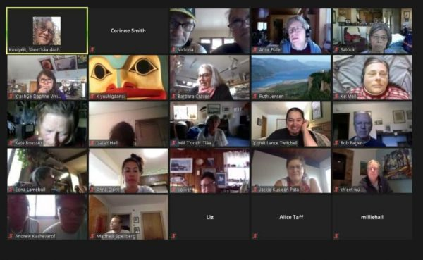 About 25 different people listen in on a screenshot of Zoom