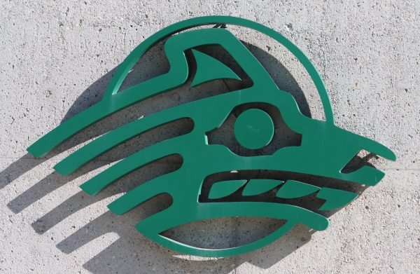 The Seawolf logo outside of the University of Alaska Anchorage Student Union.