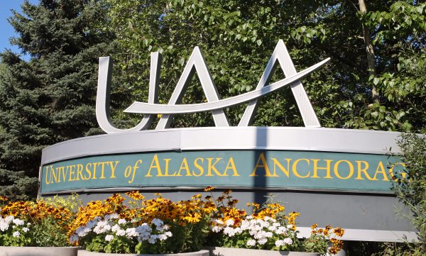 The University of Alaska Anchorage sign photographed outside.