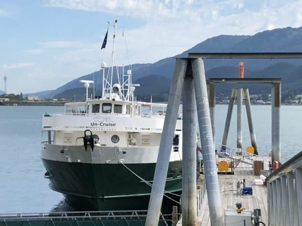 The Wilderness Adventurer, an Uncruise Adventures boat, tied up in Juneau on July 31, 2020.