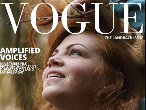 A red-haired white girl looks up and to the left in the cover of a vogue magazine with text about the Tongass