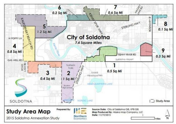 A map showing parcels in different colors jutting out from a central area labelled as the city of soldotna