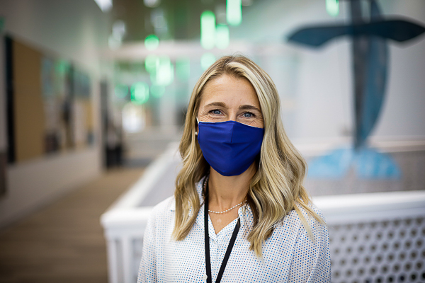 A person wearing a mask