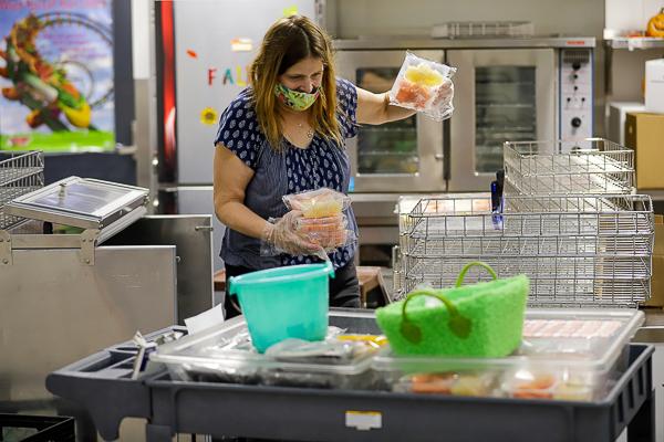 a person prepares lunch