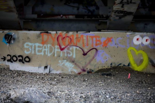 """spraypaint that reads """"2020 steadfast dynamite"""""""