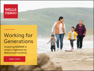 Wells Fargo Banner Ad with Two People with Fishing Poles