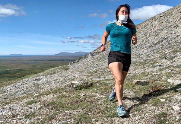 Carol Seppilu running outside of Nome, photo courtesy Carol Seppilu