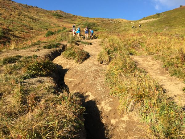 Ruts in the dirt lead up a mountain where hikers are visible
