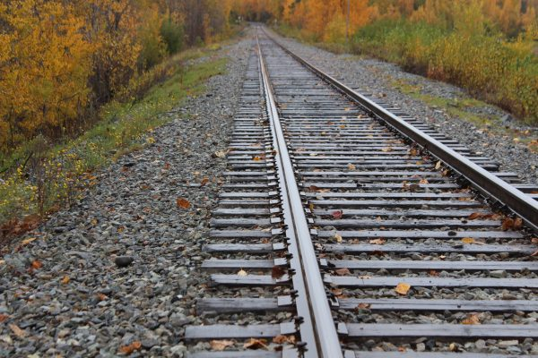 A railroad track leading into yellow leaves