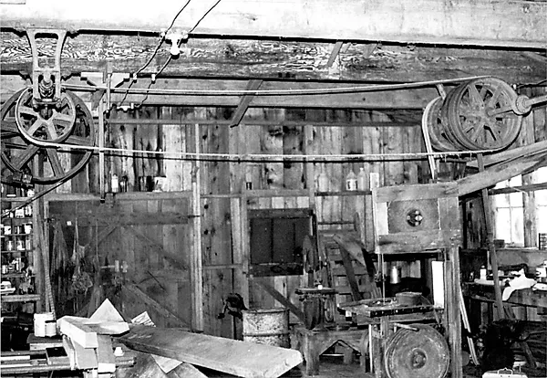 A black and white photo of machinery